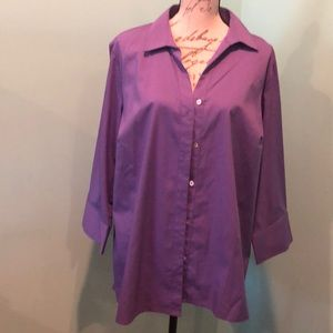 Westbound Tops 3/4 Sleeve Purple Button up